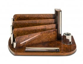 An Art Deco Burr Walnut And Chrome Desk Stand