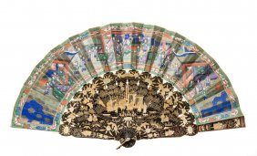A Chinese Hand Painted And Gilded Lacquer Fan, 19th