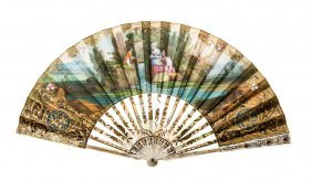 A Hand Painted And Gilded Carved Mother Of Pearl Fan,