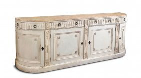 A Large White Painted Buffet With Faux Marble Top Above