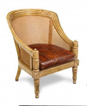 A French Gilt Cane Back Tub Chair With Leather