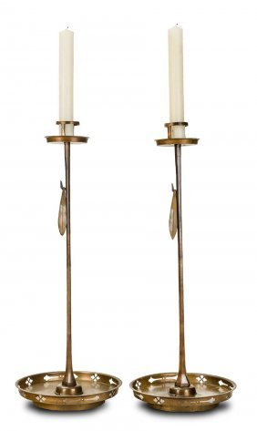 A Pair Of Chinese Brass Pricket Candle Sticks, 19th