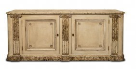 A Grey Sideboard With Faux Marble Top Above Ionic