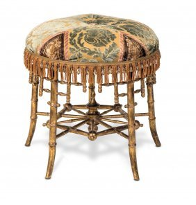 A Carved Simulated Bamboo Giltwood Stool, Probably