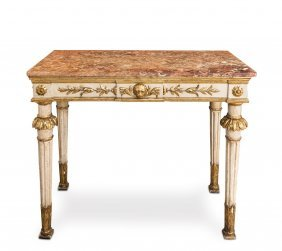 A Fine Carved, Painted And Gilded Rouge Marble Top