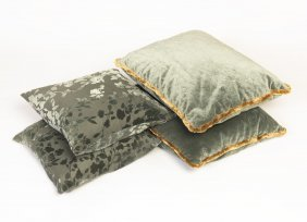 Two Pairs Of Teal Toned Velvet Cushions, 20th Century