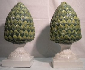 Pair Of Pottery Pinecones