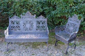PETER TIMMES & SON CAST IRON BENCH AND ARM CHAIR