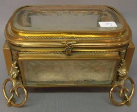 ORNATE BRASS JEWEL CHEST WITH ETCHED GLASS PANELS