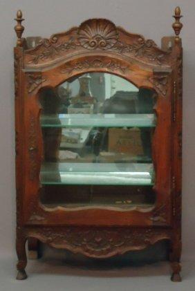 CARVED WALNUT VITRINE CABINET