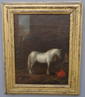 19TH C. OIL PAINTING ON CANVAS OF A WHITE HORSE