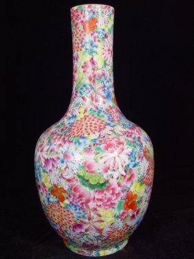 Marked Chinese Mille-fleurs Enameled Porcelain Vas