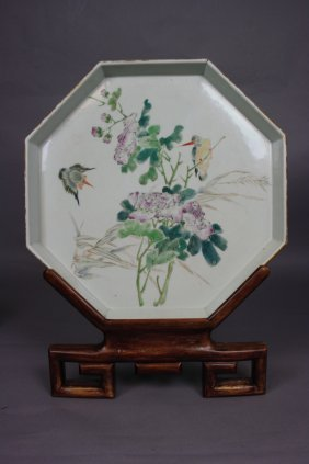 Chinese Famille-Rose Enameled Porcelain Octagon Big