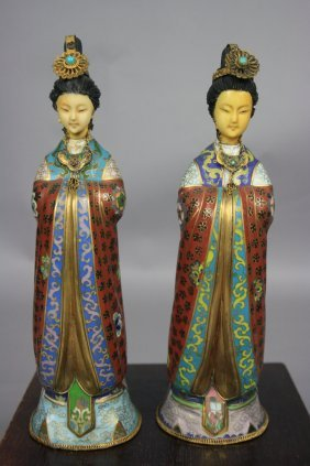 20th Century Pair Of Cloisonn� Beauty Statues Ivor