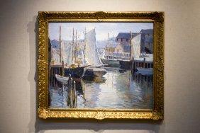 "Camillo Adriani , "" Harbor Scene With Sailing"