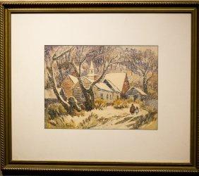 "Lester Hornby , "" Church In Snow"""