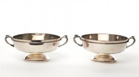 Pair Of Plated Twin Handled Footed Fruit Bowls