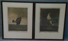"""Two Cock Fighting Prints """"War & Peace"""", Sight Size:"""