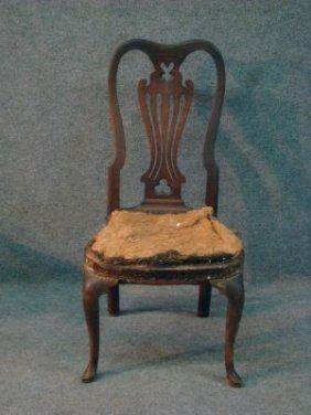 Queen Anne Side Chair W/ Pierced Splat Slipper Feet