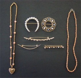 Five Pearl Pins & Two Necklaces