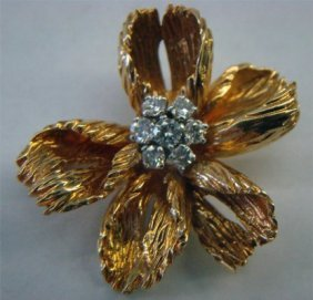 18K Gold & Platinum Tiffany Flower Brooch With Seve