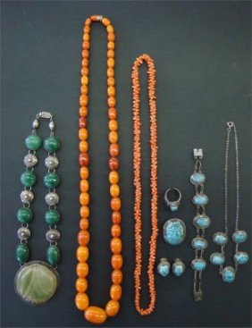 Amber Beads, Coral Beads, Green Stone Necklace &  S