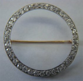 Platinum & Diamond Ladies Circle Pin, Approximately
