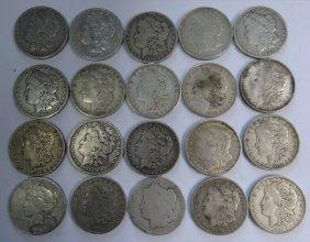 20 Silver Dollars, 19 Morgan & 1 Peace