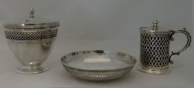 3 Pcs Tiffany Sterling Silver: Sugar Pot,mustard
