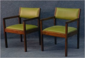 Pr Of Jens Risom Teak Chairs, Edelman Leather