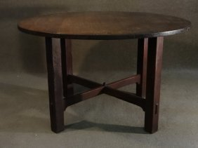 "Gustav Stickley #669 50"" Round Dining Table"