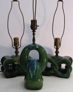 3 Vintage Art Pottery Lamps, 1 W/ Orig. Paper Labe