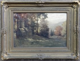 """O/c """"the Old Shed In Autumn"""" Sgnd M.h. Lowell"""