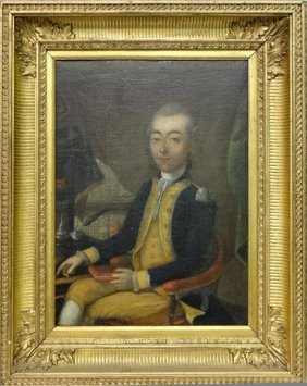 18thc. O/c Portrait Of A Naval Officer