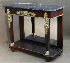 French Empire Style Marble Top Pier Table