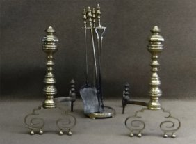 "Pr Of C.1835 Amer. Empire Andirons 23"" Tall &"