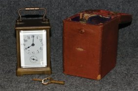 Carriage Clock In Leather Travel Case