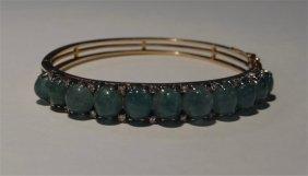 Jade & Diamond Bangle Bracelet In 14kt