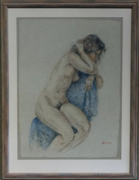 Pastel Of A Nude Sgnd Brock