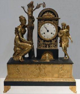 C.1801 Neo Classical Fire Gilded Bronze Clock