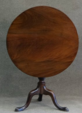 18thc. Mahogany Tea Table, Carved Urn Pedestal