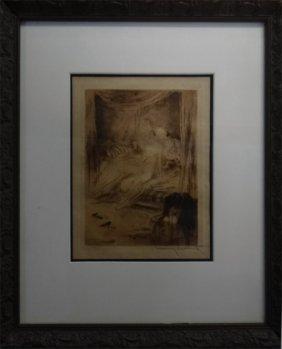 """Rare Louis Icart Engraving """"la Nuit & La Moment"""""""