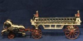 Cast Iron Horse Drawn Firemans Ladder Wagon
