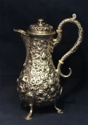 Sterling Silver Repousse Coffee Pot By Kirk & Sons