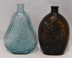 2 C. 1830's Flasks: Aqua Violin Scroll & Olive