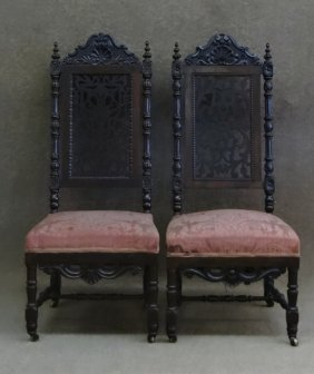 Near Pr Of Rosewood Victorian Hall Chairs