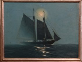 "O/c ""all Hands On Deck"" Sgnd Hunter Wood 30"" X 40"