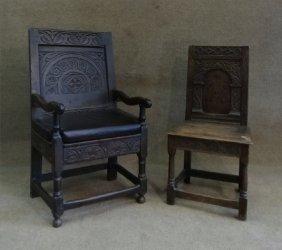 2 Early English Oak Panel Back Chairs