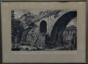 "Piranesi Engraving ""view Of The Fabrizio Bridge"