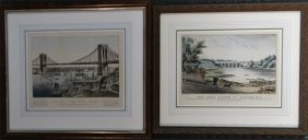 2 Small Folio Currier & Ives: The High Bridge At